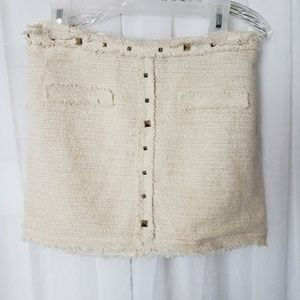 Zara Woman Mini Skirt Off White Size Small Lined